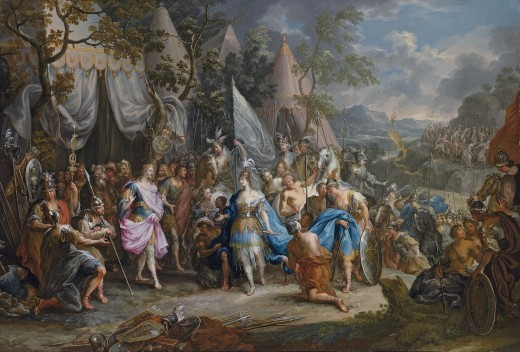 The Amazon Queen Thalestris in the Camp of Alexander the Great by Johann Georg Platzer