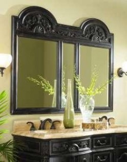 an elegant example of a wood bathroom vanity mirror