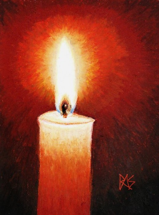 "Candlelight, 8 1/2"" x 11"" Sennelier oil pastels on paper, by Robert A. Sloan."