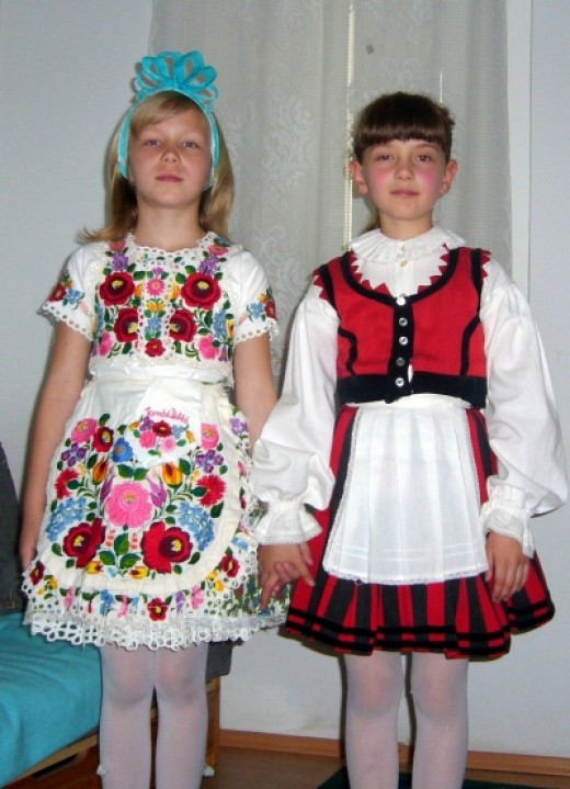 Hungarian friends in traditional wear
