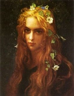 Ophelia with flowers in her hair and an intense look on her face