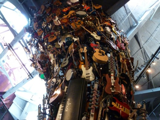 An amazing piece of art made entirely of musical instruments.