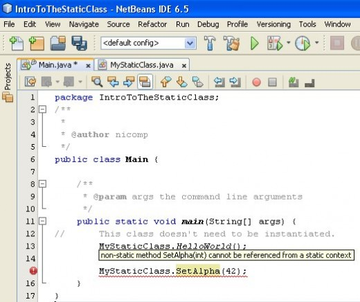 Figure 04 - The main() is broken because a non-static method cannot be accessed from a class reference.