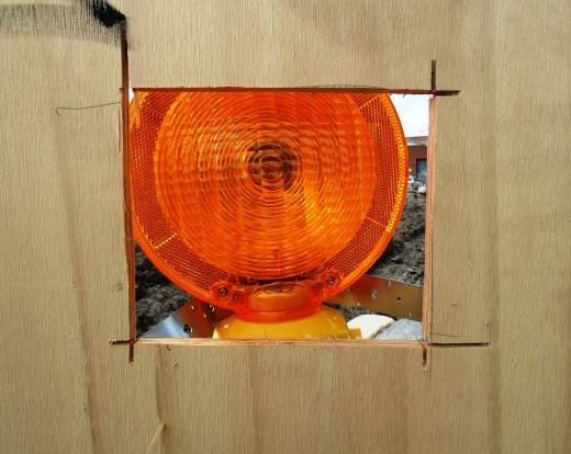 photo yellow warning lamp wood fence building site
