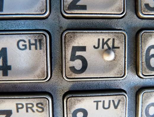 (Grimy!) ATM keypad.