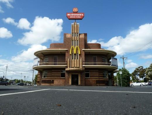 photo letter M Mcdonalds art deco building