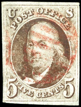 One of the first US stamps dipicting Benjamin Franklin