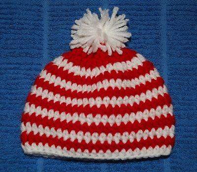 Preemie Candy Cane Hat FREE crochet pattern