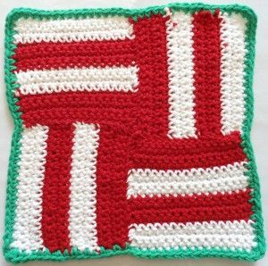 Candy Cane Blocks Dishcloth FREE Crochet Pattern