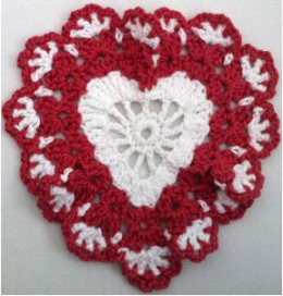 Heart red & white dishcloth