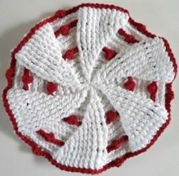 Red & White Pinwheel Dishcloth