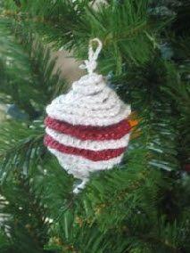 Red & White Crochet Christmas Tree Ornament