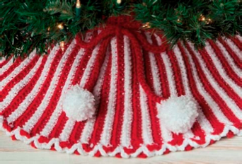 Peppermint Stripes Tree Skirt FREE Crochet Pattern