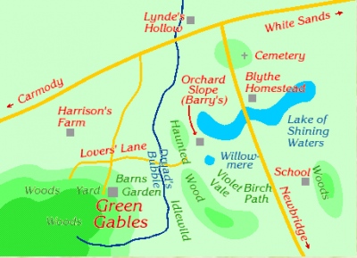 Anne lives at Green Gables in Avonlea