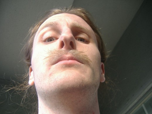 "The ""Strindberg"" look.  This is not how your moustache should look after wax."