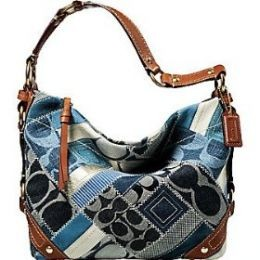 COACH DENIM SIGNATURE PATCHWORK CARLY