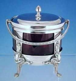 Antique Middletown Silver Quadruple Silverplate Claw Foot Sugar Basket Cranberry
