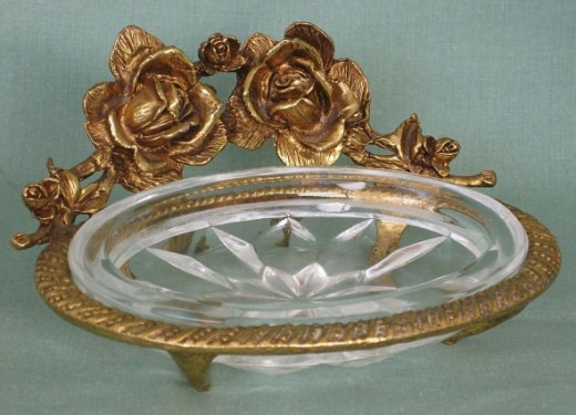Vintage Brass and Glass Roses Soap Dish