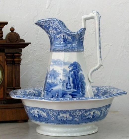 Antique Blue and White Ironstone Pitcher and Bowl