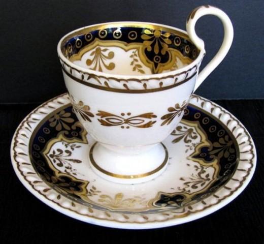 Ridgway Gadrooned Porcelain Cup & Saucer C1825