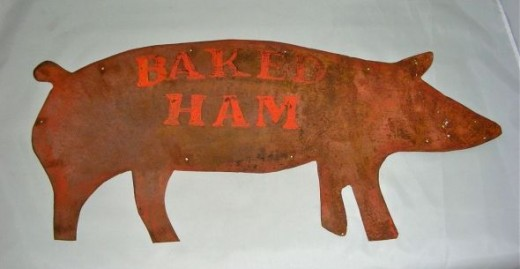 Metal Pig `Baked Ham' Sign