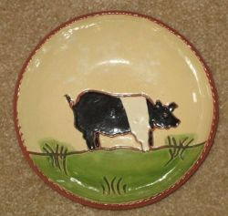 Vintage Redware Plate With A Pig