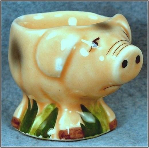 Figural Ceramic Pig Egg Cup