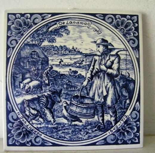 Blue & White Delft Tile * De Landman *