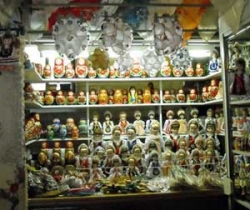 Russian doll stall stand at a local market