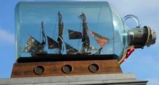 Ship in a bottle, Trafalgar Square, London