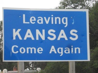 Leaving Kansas Sign