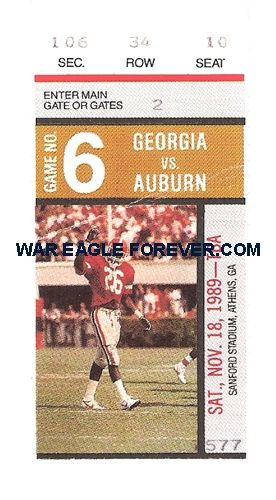 1989 Auburn-Georgia Football Ticket Stub