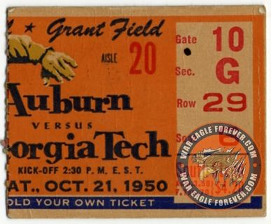 1950 Auburn-Georgia Tech Football Ticket Stub