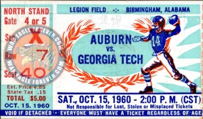 1960 Auburn-Georgia Tech Ticket Stub