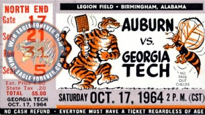 1964 Auburn-Georgia Tech Football Ticket Stub