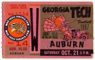 1967 Auburn-Georgia Tech Football Ticket Stub
