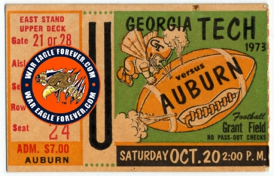 1973 Auburn-Georgia Tech Football Ticket Stub