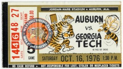 1976 Auburn-Georgia Tech Football Ticket