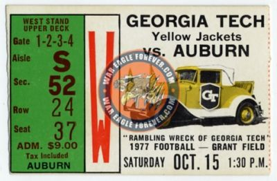 1977 Auburn-Georgia Tech Football Ticket