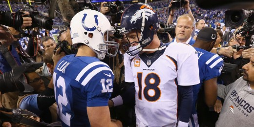 Indianapolis Colts QB Andrew Luck (L) and Denver Broncos QB Peyton Manning