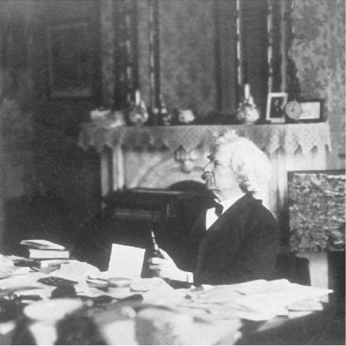 Mr. Twain...hard at work...maybe?