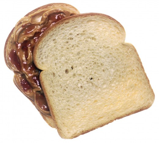 This photograph of a peanut butter and jelly sandwich was produced by the United States federal government, and is thus in the public domain.