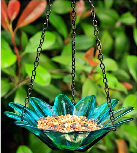 Recycled glass bird feeder. Available on Amazon.com. Photo from Amazon.