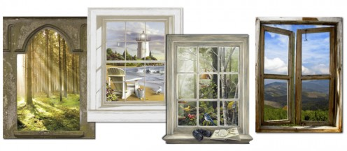 Left to right: Brewster Mystic Forest Window Wall Mural, York Wallcoverings Scenic Lighthouse Wall Accent, York Bird Watching Trompe L'Oeil Window Wall Accent Mural, and Brewster Bali Window Wall Mural.