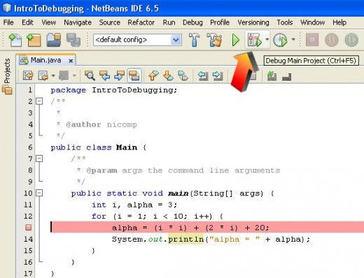 Figure 04 - Launching a program in Debug Mode