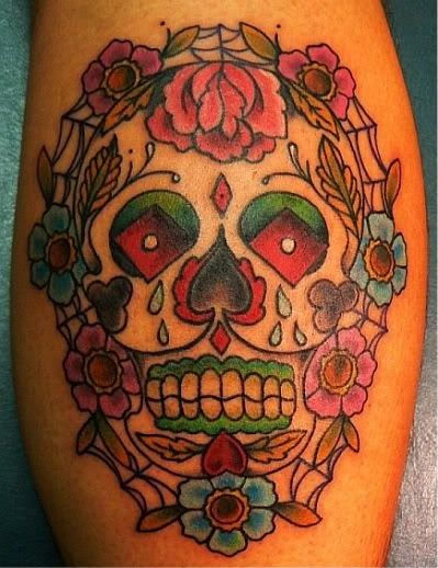 Colorful Sugar Skull Tattoo ala Day of the Dead.  Source: http://media.beta.photobucket.com/user/anabarrera83/media/Tattoos/sugar_skull_tattoo-1.jpg.html