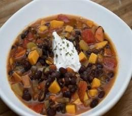 Sweet Potato & Black Bean Chili in a Slow Cooker Recipe