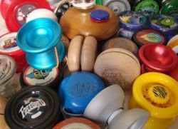 Assorted yo-yos made from hardwood, high impact plastic and high tech aluminum.