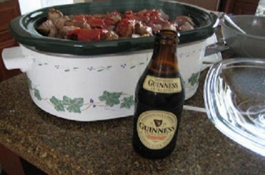 Slow cooker with Guinness for Irish stew