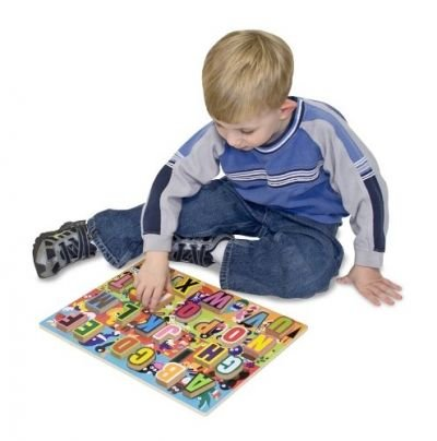 Melissa & Doug ABC Chunky Puzzle has 26 colorful pieces to the puzzle.